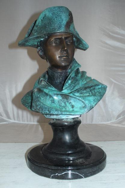 "Napoleon Bust Bronze Statue -  Size: 14""L x 12""W x 24""H."