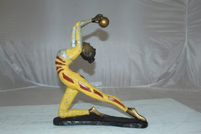 "Ballet Dancer with a Ball Bronze Statue -  Size: 12""L x 6""W x 14""H."
