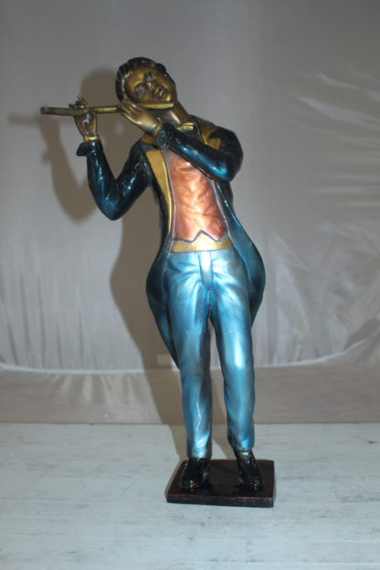 "Boy Playing the Flute Bronze Statue -  Size: 5""L x 10""W x 19""H."
