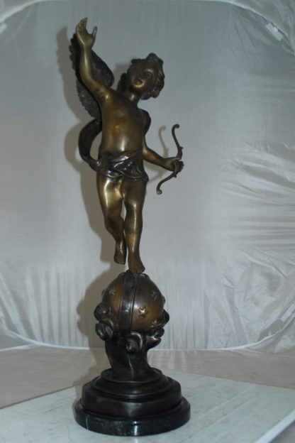 "Angel on Earth Bronze Statue -  Size: 10""L x 13""W x 32""H."
