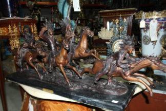 "War party Bronze Statue by Carl Cauba -  Size: 39""L x 10""W x 15""H."