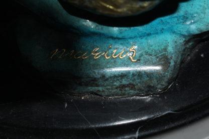 "Two largemouth bass fish Bronze Statue -  Size: 17""L x 10""W x 24""H."