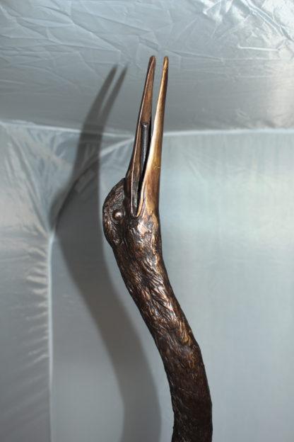 "Crane head up fountain Bronze Statue -  Size: 13""L x 9.5""W x 52""H."