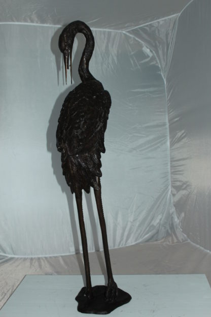 "Crane head down fountain Bronze Statue -  Size: 10""L x 9""W x 44""H."