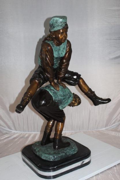 "Leapfrog - large Bronze Statue -  Size: 26""L x 14""W x 34""H."