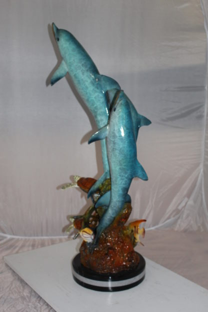 "Three Dolphins W turtles and fish Bronze Statue -  Size: 16""L x 16""W x 40""H."