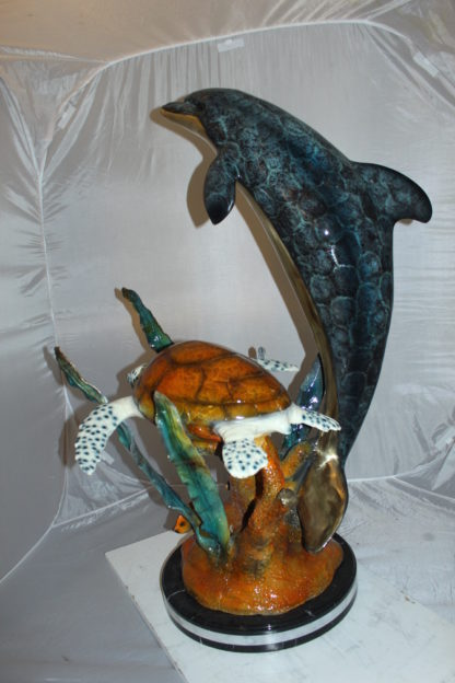 "Dolphin with large turtle Bronze Statue -  Size: 30""L x 30""W x 44""H."
