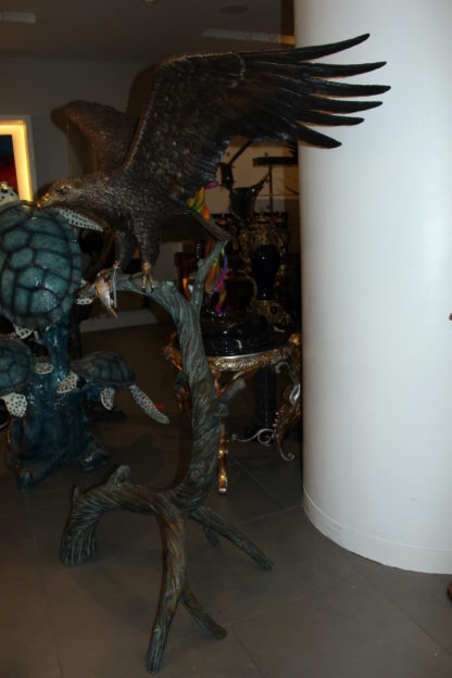 """Large Eagle standing on tree with his fish prey Bronze Statue -  60""""x 40""""x 75""""H"""