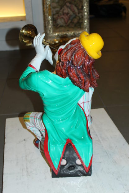 "Clown Playing Instrument Bronze Statue -  Size: 12""L x 10""W x 20""H."