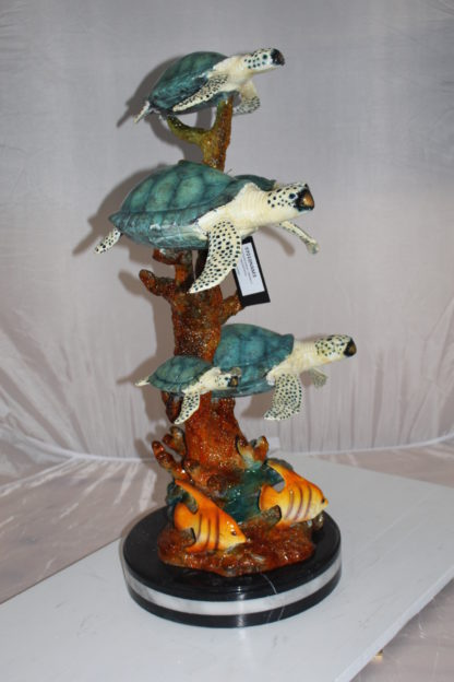 "Five Sea Turtles Swimming Bronze Statue -  Size: 20""L x 16""W x 30""H."