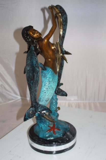 "Mermaid with 3 dolphins Bronze Statue -  Size: 16""L x 10""W x 25""H."