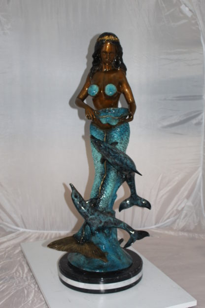 "Mermaid with 2 dolphins Bronze Statue -  Size: 14""L x 14""W x 28""H."