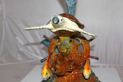 "Dolphin turtle and 2 fish Bronze Statue -  Size: 18""L x 16""W x 25""H."