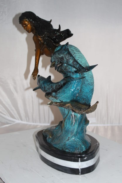 "Mermaid w Dolphin and turtle Bronze Statue -  Size: 19""L x 9""W x 22""H."