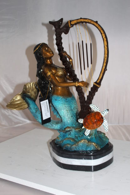 "Mermaid play harp Bronze Statue -  Size: 13""L x 8""W x 22""H."