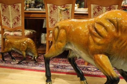 "Bull Heads Down -Large Bronze Statue -  Size: 48""L x 12""W x 30""H."