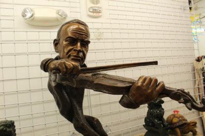 "Musicista by Arnadia, Bust of Violin Musician Bronze Statue - 27""x 16""x 32""H."