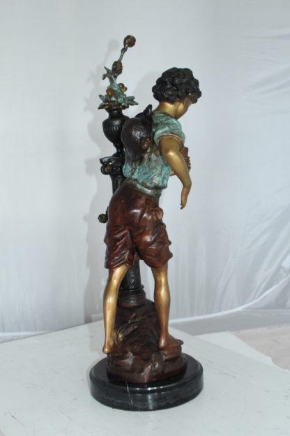 """Les Amenes girl Bronze Statue -  Size: 9""""L x 8""""W x 25""""H."""