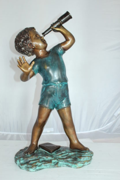 "Boy with telescope Bronze Statue -  Size: 14""L x 10""W x 28""H."