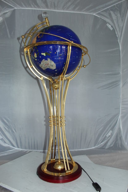 "Illuminated Blue Ocean World Globe Rotating by motor -  18""L x 18""W x 42""H."