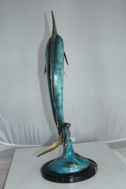 "Single Marlin Fish bronze statue -  Size: 9""L x 9""W x 27""H."