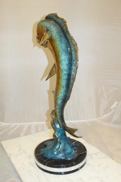 "Mahi Mahi Fish Bronze Statue -  Size: 16""L x 12""W x 32""H."