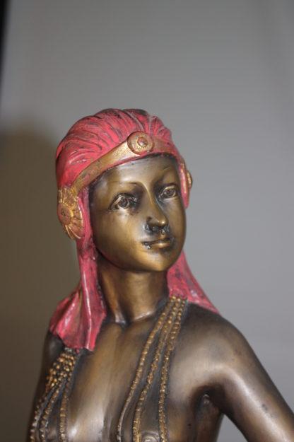 "Egyptian lady Bronze Statue -  Size: 7""L x 6""W x 28""H."