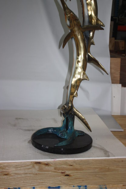 "Two Sail fish Bronze Statue on a marble base -  Size: 17""L x 17""W x 56""H."