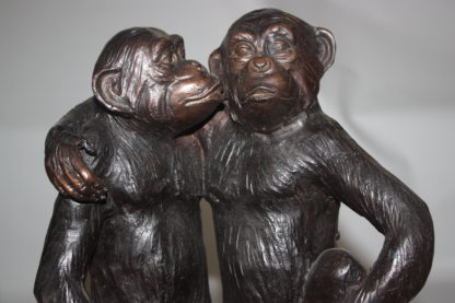 "Three monkeys on a tree log - Bronze Statue -  Size: 27""L x 11""W x 18""H."