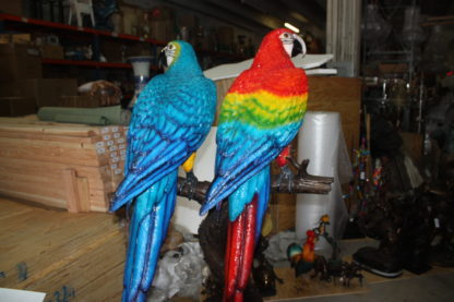 "Two Large Parrots on a tree - Bronze Statue -  Size: 43""L x 28""W x 67""H."