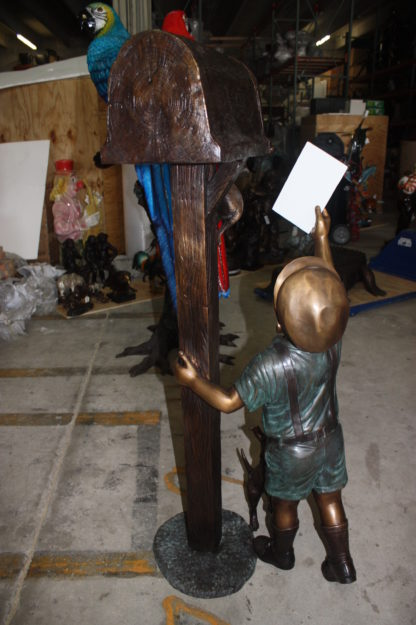 "Standing mailbox W boy dog and cat - Bronze Statue -  Size: 22""L x 18""W x 50""H."