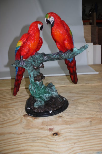 "Two Parrots on a tree - Bronze Statue -  Size: 20""L x 12""W x 23""H."