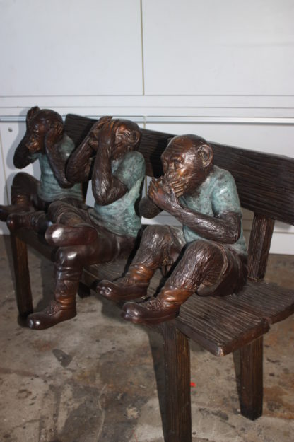 "Three Wise Monkeys on Bench Bronze Statue -  Size: 45""L x 19""W x 30""H."