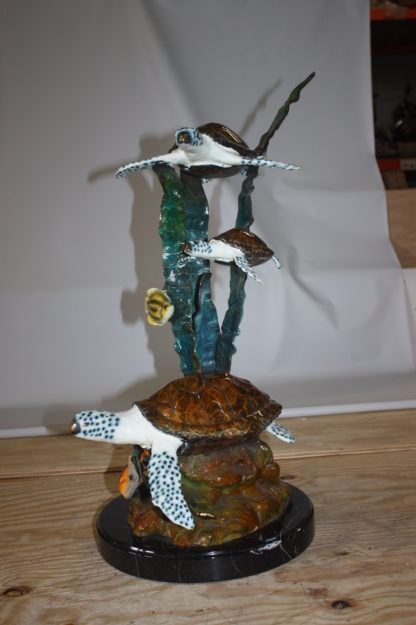 "Three turtles  - Bronze Statue -  Size: 17""L x 12""W x 28""H."