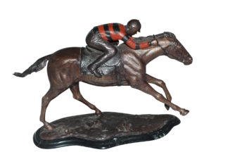 "Jockey with Horse -large Bronze Statue -  Size: 21""L x 8""W x 14""H."