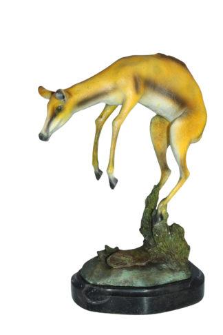 """Jumping Impala bronze statue -  Size: 9""""L x 7""""W x 16""""H."""