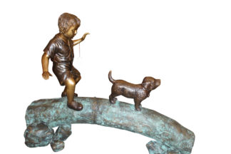"""Kid with dog walking on a log Bronze Statue -  Size: 57""""L x 18""""W x 41""""H."""
