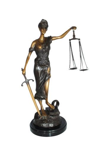 "Lady Justice Bronze Statue -  Size: 6""L x 6""W x 18""H."