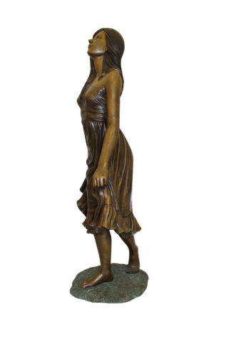 "Lady holding her Skirt Bronze Statue -  Size: 32""L x 17""W x 53""H."