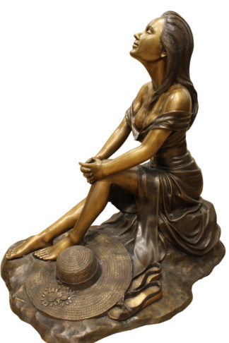 "Lady on Stone Bronze Statue -  Size: 33""L x 23""W x 34""H."