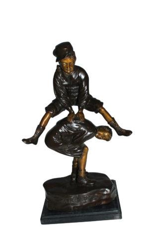 "Leapfrog Bronze Statue -  Size: 12""L x 7""W x 19""H."