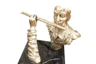 "Man playing Flute Bronze Statue -  Size: 10""L x 8""W x 10""H."