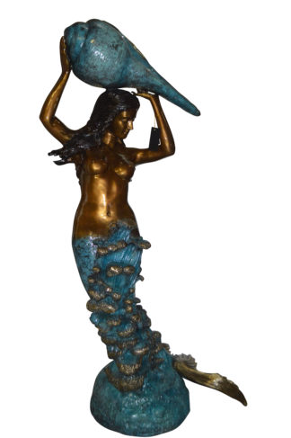 "Mermaid holding a shell - large Bronze Statue -  Size: 43""L x 30""W x 76""H."