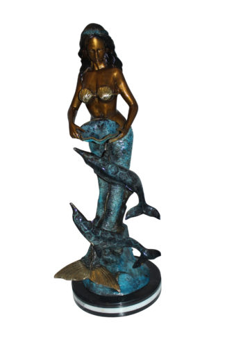 "Mermaid with Dolphin Fountain Bronze Statue -  Size: 16""L x 16""W x 39""H."
