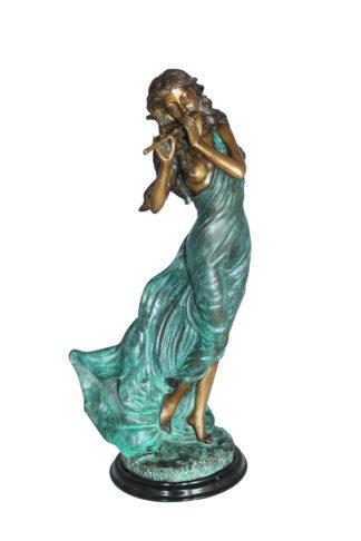 "Musical Girl Bronze Statue -  Size: 8""L x 7""W x 19""H."