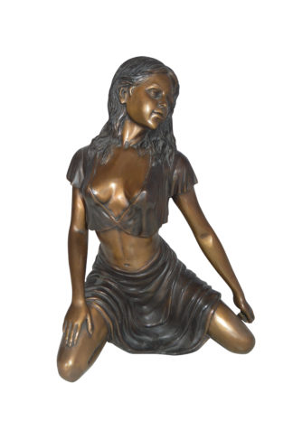 "Nude girl Bronze Statue -  Size: 8""L x 11""W x 14""H."