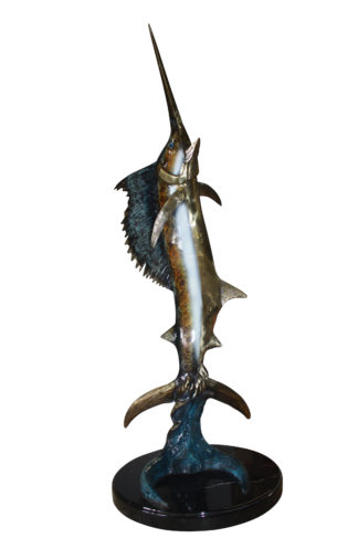 "One sailfish on a marble - Bronze Statue -  Size: 17""L x 17""W x 46""H."