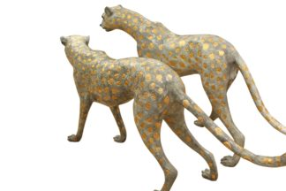 "Pair of Golden-Plated Cheetahs Bronze Statue -  Size: 58""L x 10""W x 31""H."