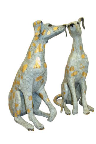 "Pair of Golden Pleated Dalmatians Sitting Bronze Statue -  21""L x 16""W x 35""H."