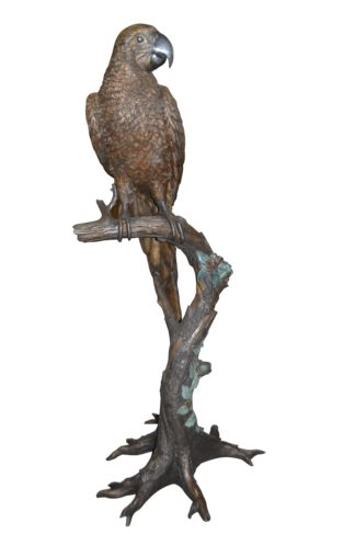 "Parrot On A Tree Bronze Statue -  Size: 30""L x 24""W x 66""H."
